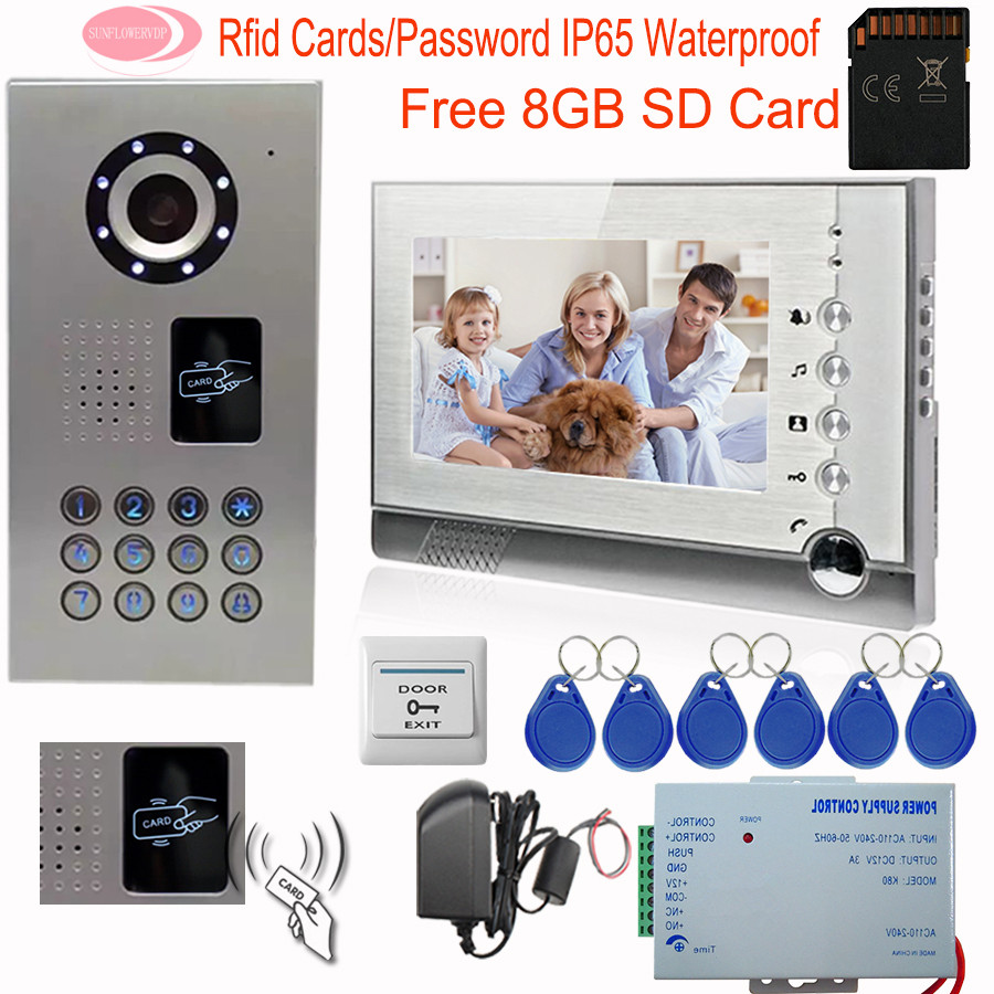 SUNFLOWERVDP Video Intercom With Recording 8GB SD Memory Card Diy Kit Inductive Card Home Video Door Phone 7'' IP65 Waterproof zhong de zdc 901a old man digital hearing aid in ear stealth wireless hearing in deaf hearing aid