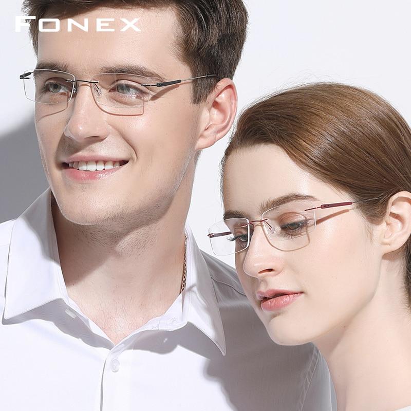 f3923a5d4d Montura de gafas sin montura hombres mujeres titanio TR90 ultraligero sin  marco ojo prescripción óptica coreana sin tornillos gafas - a.wangmu.me