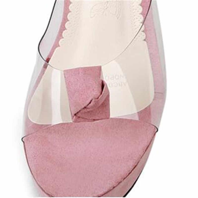 Zapatos de tacón alto con plataforma transparente de Punta abierta para mujer de marca de diseñador de estrellas Chanclas de verano 2018