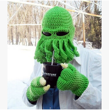 89d6c5200abe9 Novelty Cool Handmade Knitting Wool Funny Animal Cthulu Beard Octopus Hats  caps Crochet Tentacle Beanies Men Women Unisex Gifts
