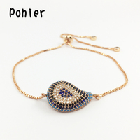 Fashion Rose Gold Color 20 15mm Hamsa Fatima Hand Blue Turkey Evil Eye Charms For Women