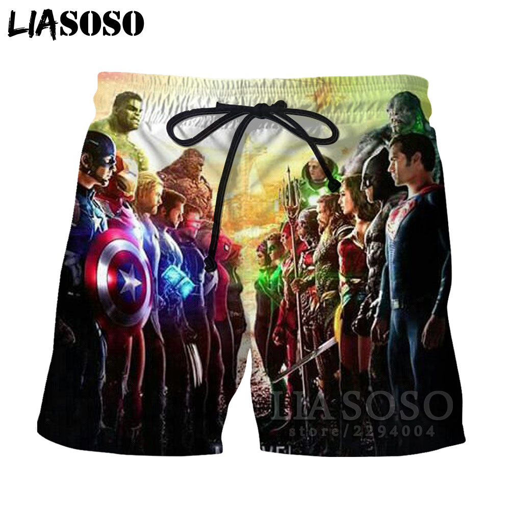 LIASOSO summer Avengers 3 Infinity War 3D shorts Men/Women shorts Superhero Thanos Hawkeye Hulk Tees Beach Shorts war81