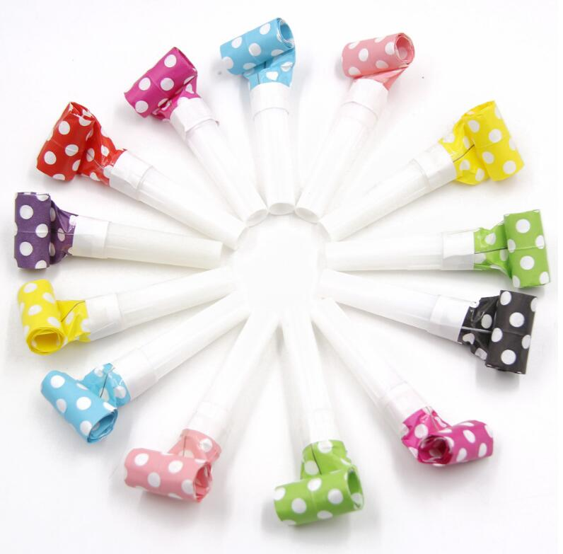 6Pcs/Lot Children's Birthday Party Noise Makers Dots Blowouts Festival Funny Prop Pinata Kids Party Favors Gift Horn Whistle