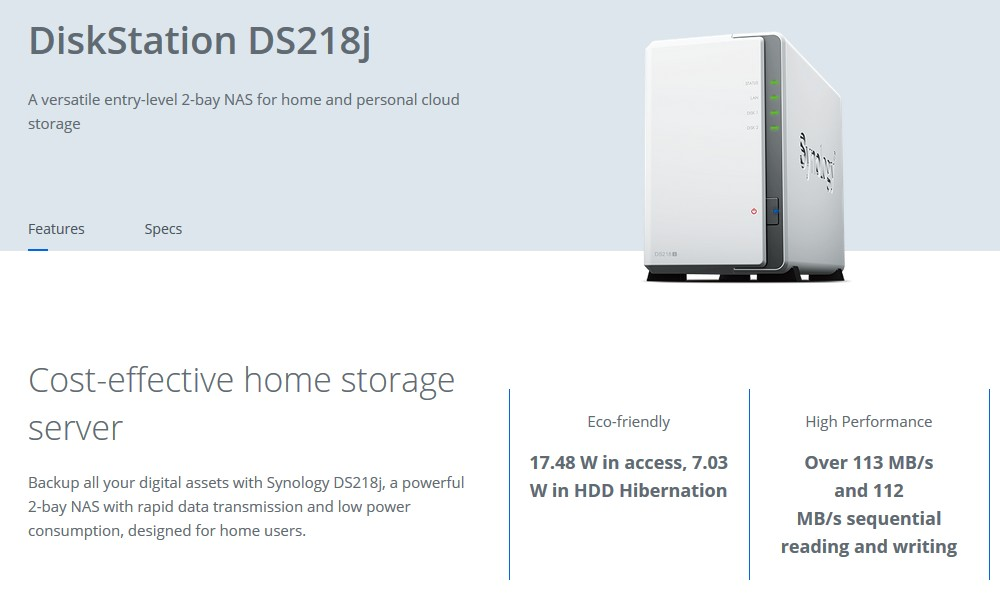 US $211 2 12% OFF|Synology Original NAS Disk Station DS218j 2 bay Diskless  nas Server nfs Network Storage Cloud storage 2 Years Warranty-in Networking