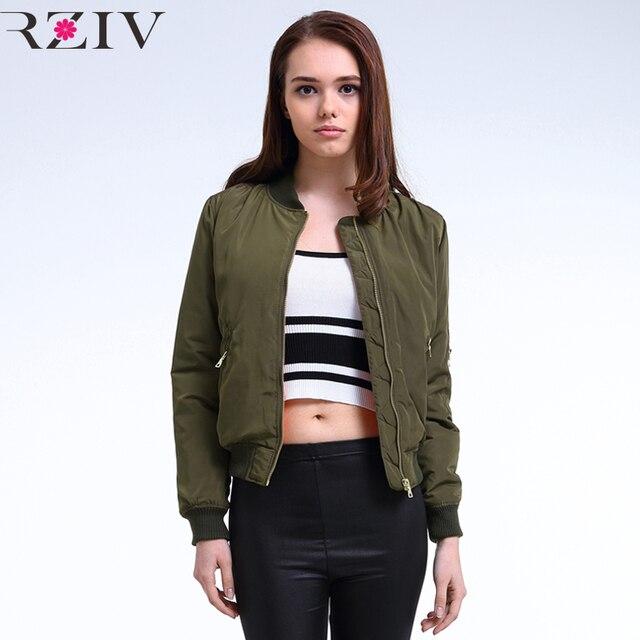Rziv 2017 зима полета армия зеленый бомбардировщик куртка женщин куртки и пальто женщин одежда бомбардировщик дамы