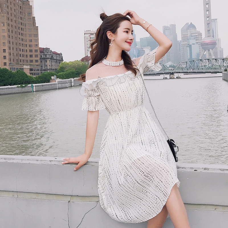 EAD Elegant Transparent Mesh Sexy Chiffon Dress Vintage Dot O Neck Ruffle Women Midi Dresses Ladies High Waist Summer Sundress