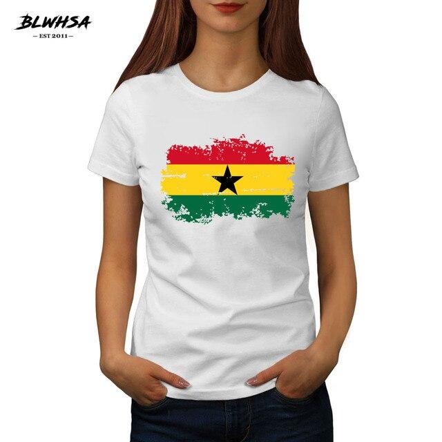 Estate Nuove Donne di Modo T-Shirt BLWHSA Ghana Bandiera Nazionale Della  Stampa Supera i t 7f3468037c81