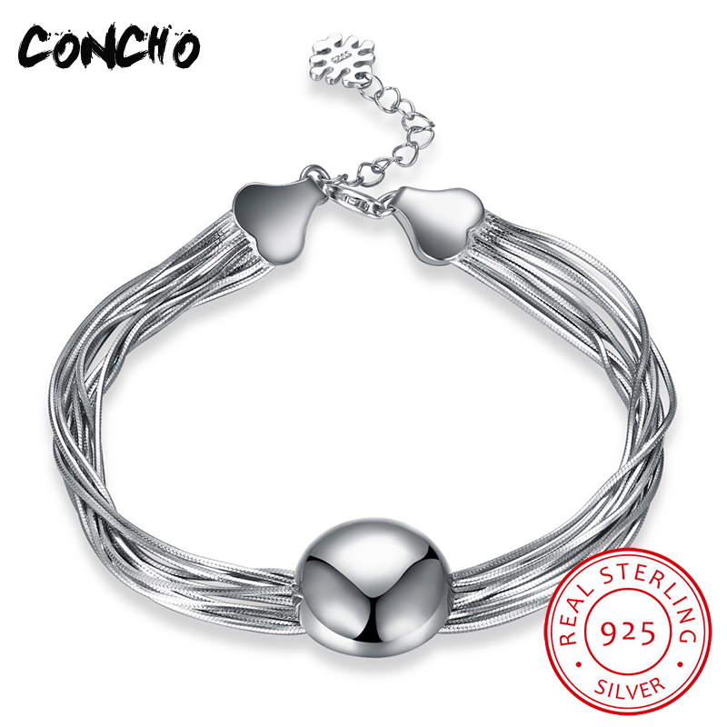 Concho Jewelry 925 Sterling Heart Bracelet For Women Anniversary Best Gifts 2018 Concho Jewelry Exaggeration Hand Chain цена