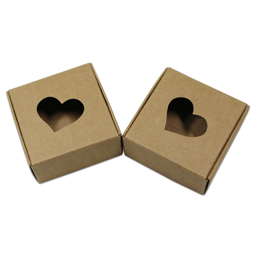 50Pcs Brown White Square Kraft Paper Gift Boxes Packaging Heart Hollow Out Cardboard Carton For Wedding Party Cookies Candy
