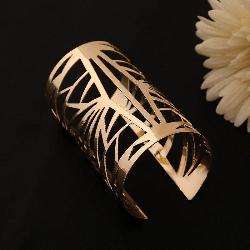 ebc8c9aae34f7 واسعة مفتوحة الذهب الكفة سوار أساور الإسورة pulseiras دي أورو المجوهرات  للنساء فاخرة ماركة الأمم ازياء