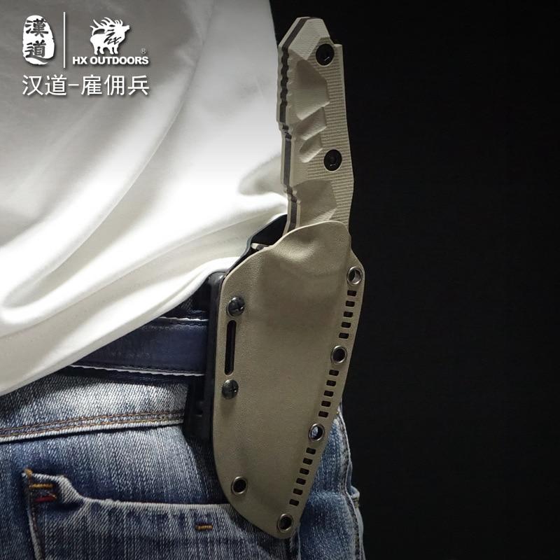 Купить с кэшбэком HX OUTDOORS Mercenaries High Hardness Straight Knife D2 Steel G10 Handle Survival Camping Knives With Kydex Multi Hunting Knife