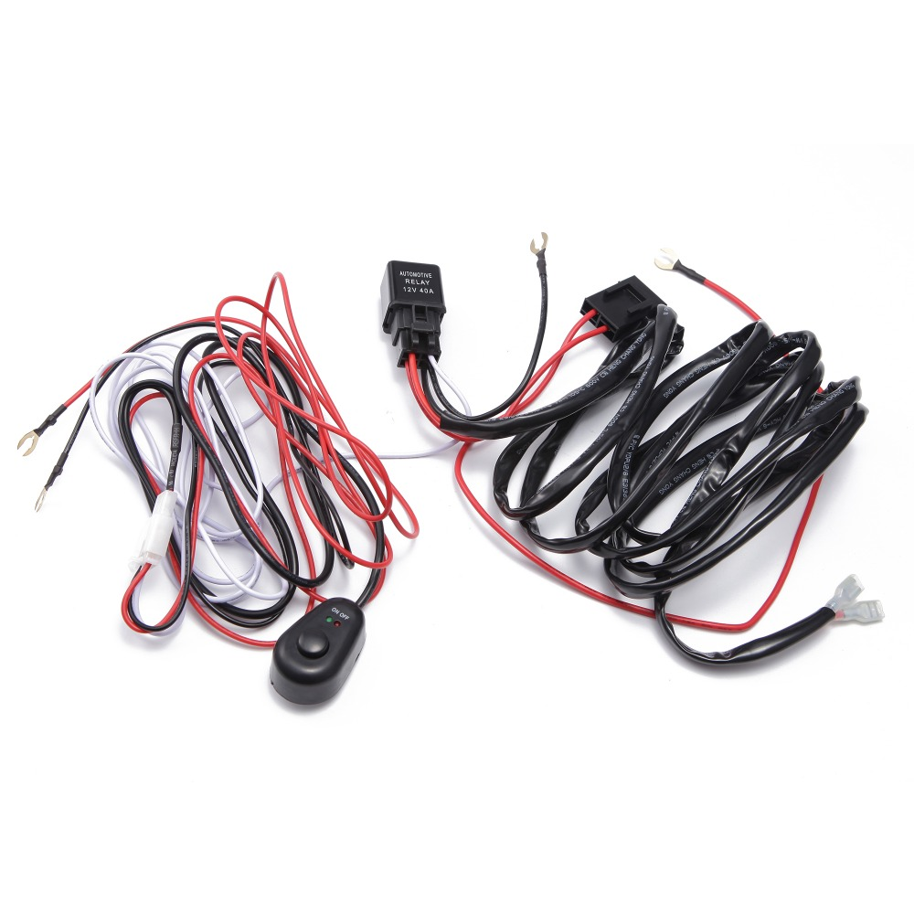 Купить с кэшбэком ECAHAYAKU 2 PCS Wiring Harness Kit Loom 12v 40A Relay on/off Switch 2 Meter Led Work Light Bar 1 wire connect 1 Light