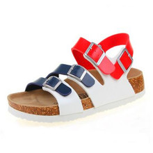 Young Girl Fashion Buckle Cork Sandals Flats 2017 New Women Summer Beach Patchwork Casual Slipper Shoe Plus Size 35-43