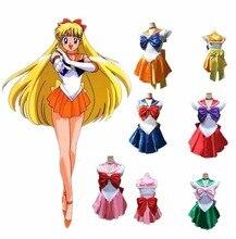 Sailor moon cosplay del traje del uniforme fancy party dress & guantes de regalo de halloween