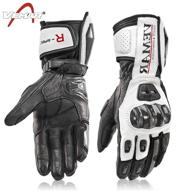 VEMAR Motorcycle Riding Leather Gloves Motorcycle Long Carbon Fiber Shell Gloves Mens Winter Dropping Windproof Touch Screen Gl