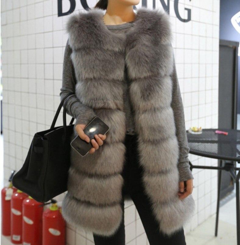 Plus Gilet Femmes De Preppy Aw280 Faux Long Manteau Fausse Taille Artificielle Hiver Patchwork 2018 Sauvage Femme Fourrure La wFPqCOx