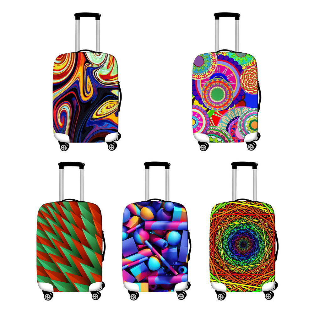 Geometric Prints Suitcase Protective Cover For 18-28 Trolley Rolling Luggage Dust Covers Travel Luggage Bag