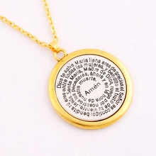 """Bible Amen Round Pendant Necklaces Religious Necklace N1703 24"""" 37.8mm Antique Silver And Gold"""