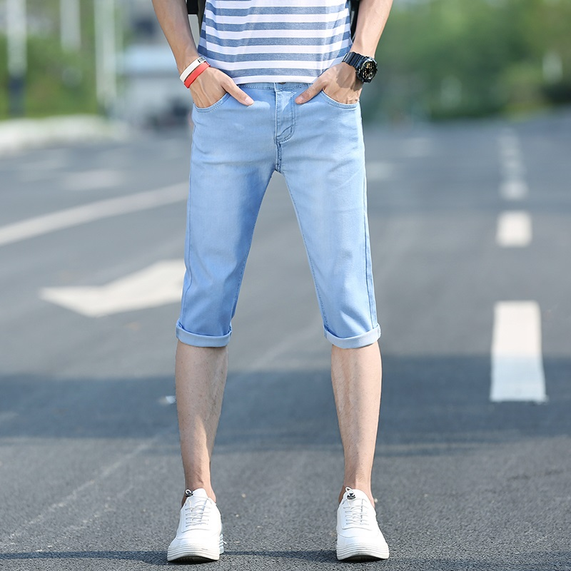 Men's Slim Fitted Short   Jeans   Regular Cotton Straight Calf Length   Jeans   Skinny Denim Shorts for Men Color Blue 901 Size 27-36