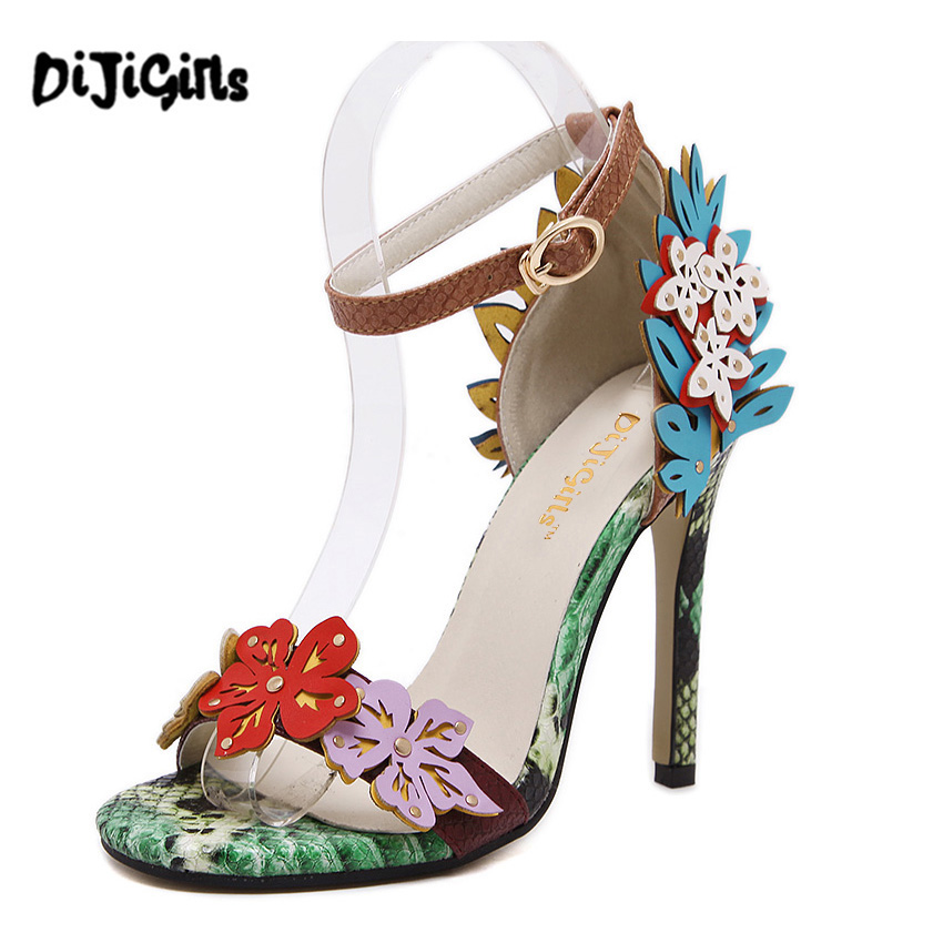 Sweet High Heels Sandals beautiful Appliques snake texture Ankle Strap Shoes party Shoes Woman 2017 New Summer Gladiator Sandals 2017 new arrival abnormal jeweled heels rhinestone crystal embellished high heel sandals ankle strap lock summer party shoes