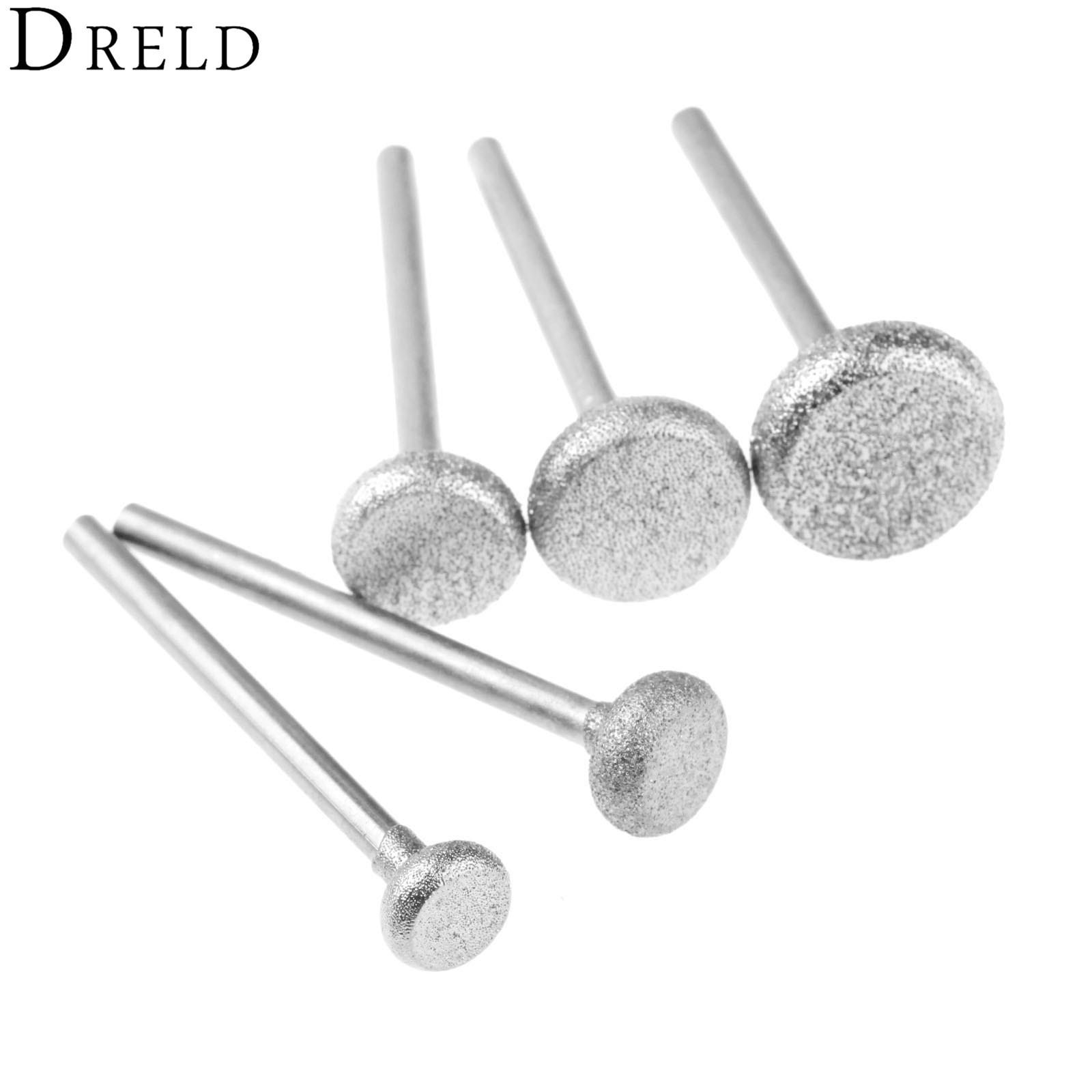 DRELD 5Pcs/set Diamond Grinding Head 3mm Shank Abrasive Polishing Grinding Nail Bit Jade Stone Metal Cutting Carving Drill Burrs