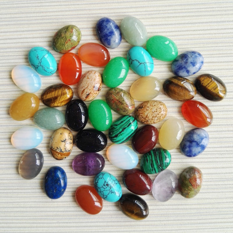 Free shipping 100pcs/lot 10X14mm Mixed Natural stone Oval CAB CABOCHON teardrop Wholesale opal/Powder/Tiger eye stone beads