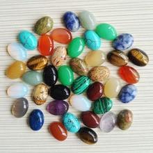 Free shipping 100pcs/lot 10X14mm Mixed Natural stone Oval CAB CABOCHON teardrop Wholesale opal/Powder/Tiger eye stone beads