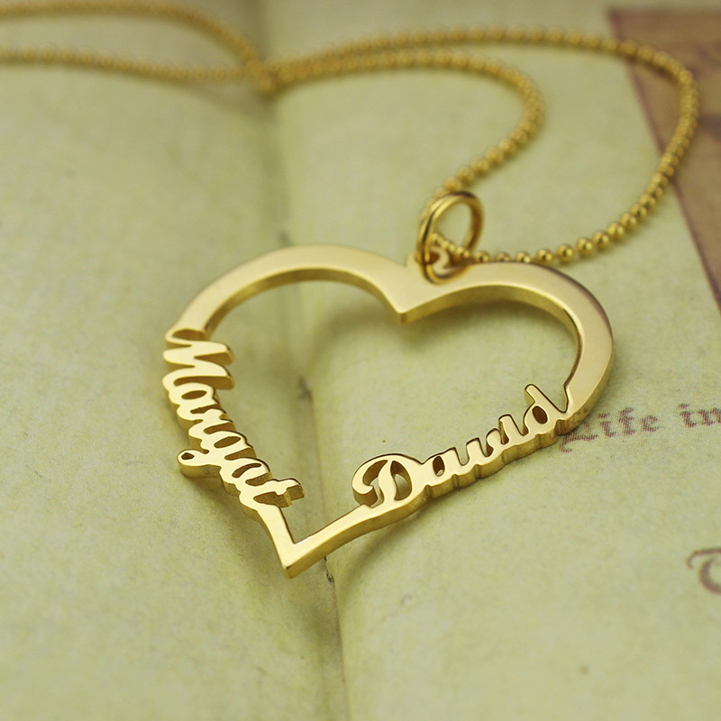 Gold color customized heart name necklace couples heart pendant gold color customized heart name necklace couples heart pendant with 2 names love necklace valentines day gift for her in pendant necklaces from jewelry mozeypictures Gallery