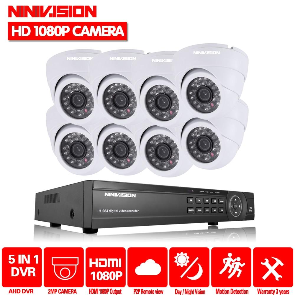 8CH 2.0MP HD 1080 p Sistema de segurança câmera dome CCTV AHD Kit 8 Canal De Vigilância Por Vídeo 1080 p DVR NVR sistema usb 3g wifi P2P
