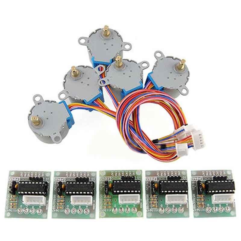 5 pcs חדש מותג ULN2003 28BYJ-48 5 V הפחתת Gear מנוע צעד 4 שלב שלב מנוע לarduino 5 pcs מנוע + 5 pcs לוח