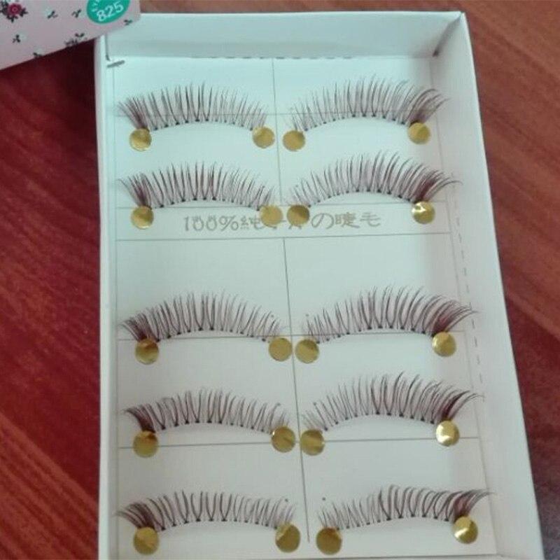 Hand-made Natural Long Short False Eyelashes brown fake eye lashes makeup beauty tools Winged facial Eyelashes 825# ...