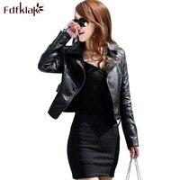Fdfklak осень Для женщин Кожаные куртки Новый бренд черная кожаная куртка Европейский Стиль мотоботы на молнии PU куртка женская e0486