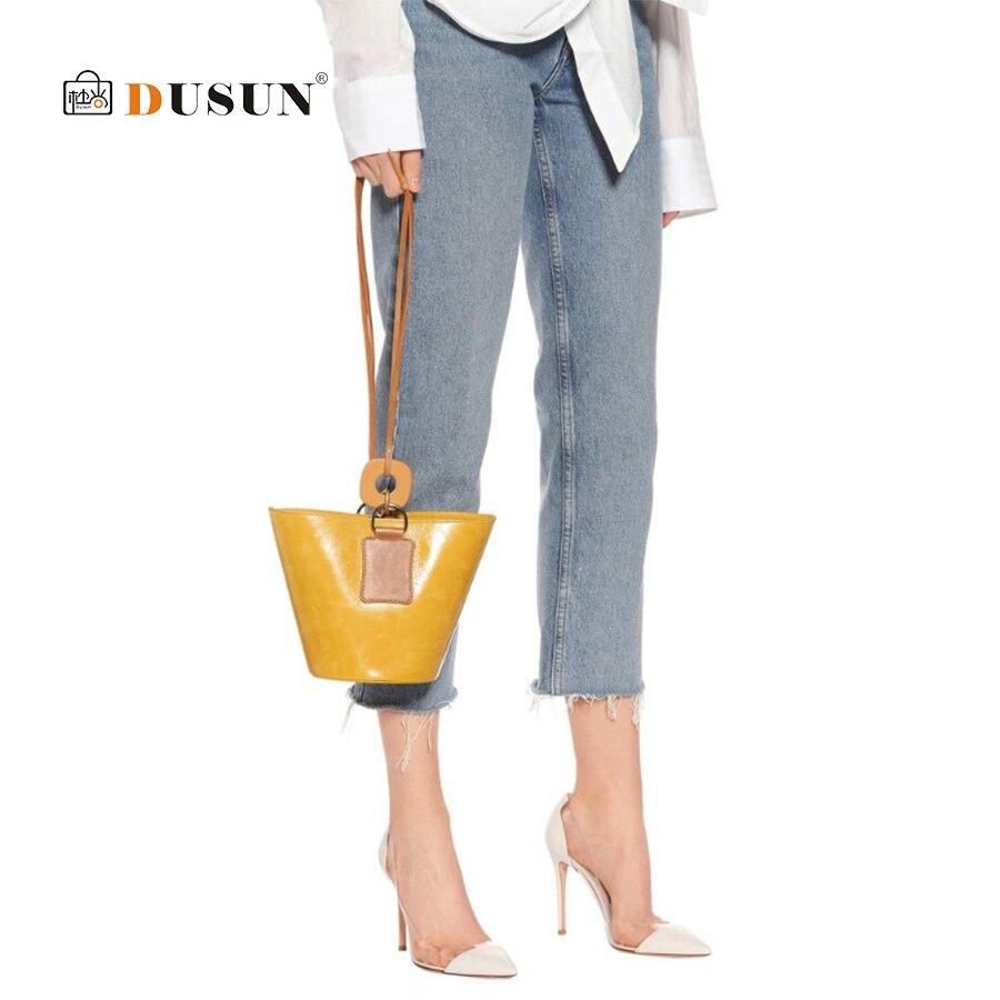 Dell'unità Femminile yellow Cuoio Spalla Vintage Black Donne Signore Del Elaborazione Shopping A Borsa Mini Borse Di Retro Pannelli Progettista Delle Dusun Secchiello Bolsa wFz8Aqpx