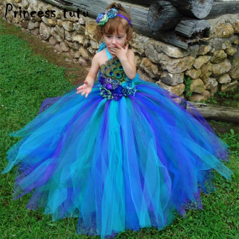 Princesse Tutu filles robe robes fantaisie pour enfants vêtements robes de fête d'anniversaire Cosplay plume de paon w021