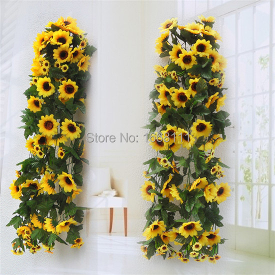 Artificial Sunflower Wall Hanging Rattans Daisy Wall ... on Hanging Wall Sconces For Flowers id=31879