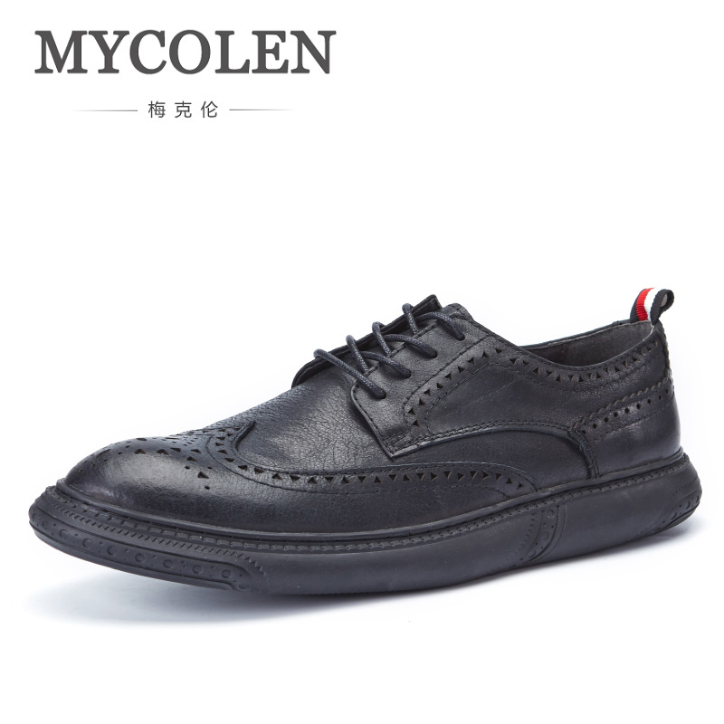MYCOLEN Luxury Designer Formal Men Dress Shoes Genuine Leather Classic Brogue Shoes Flats Office Business Male Leather Shoes mycolen 2018 high quality business dress men shoes luxury designer crocodile pattern formal classic office wedding oxfords