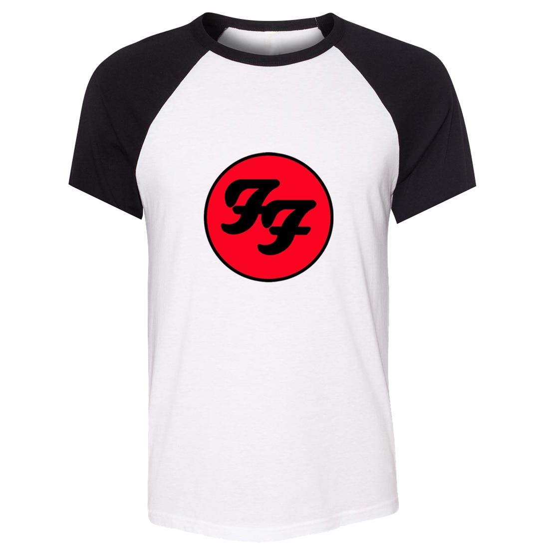 Camiseta unisex del verano de idzn Foo Fighters hard rock and roll band manga del raglán del diseño del patrón hombres camiseta casual camiseta Tops