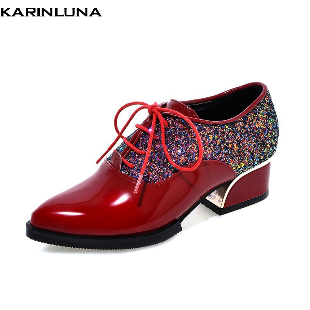 Karinluna 2019 brand top quality big size 43 lace up women Shoes Woman leisure chunky Heels dropship wholesle Woman shoes pumpsKarinluna 2019 brand top quality big size 43 lace up women Shoes Woman leisure chunky Heels dropship wholesle Woman shoes pumps