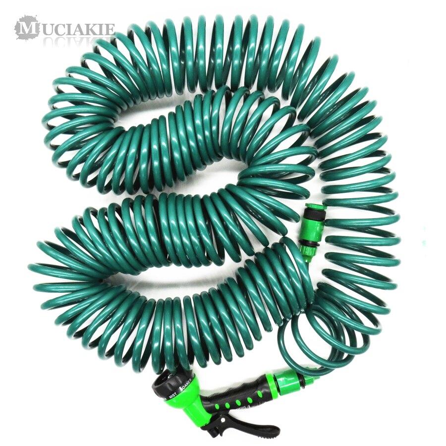 10M//15M Coiled Garden Water Hose Spiral Pipe /& Spray Gun Nozzle Set Retractable