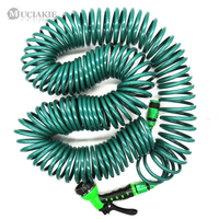 30M (100FT) Spring Hose Retractable No Knot Telephone Line Style Garden Watering Irrigation Car Washing Hose W/ Quick Connector Garden Hoses & Reels    -