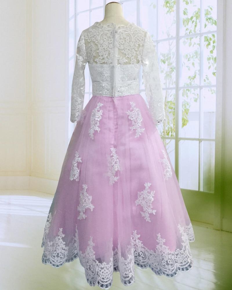 Hot Pink Floor Längd Flower Girl Dresses Lång Ärmar 2017 Appliques - Bröllopsfestklänningar - Foto 2