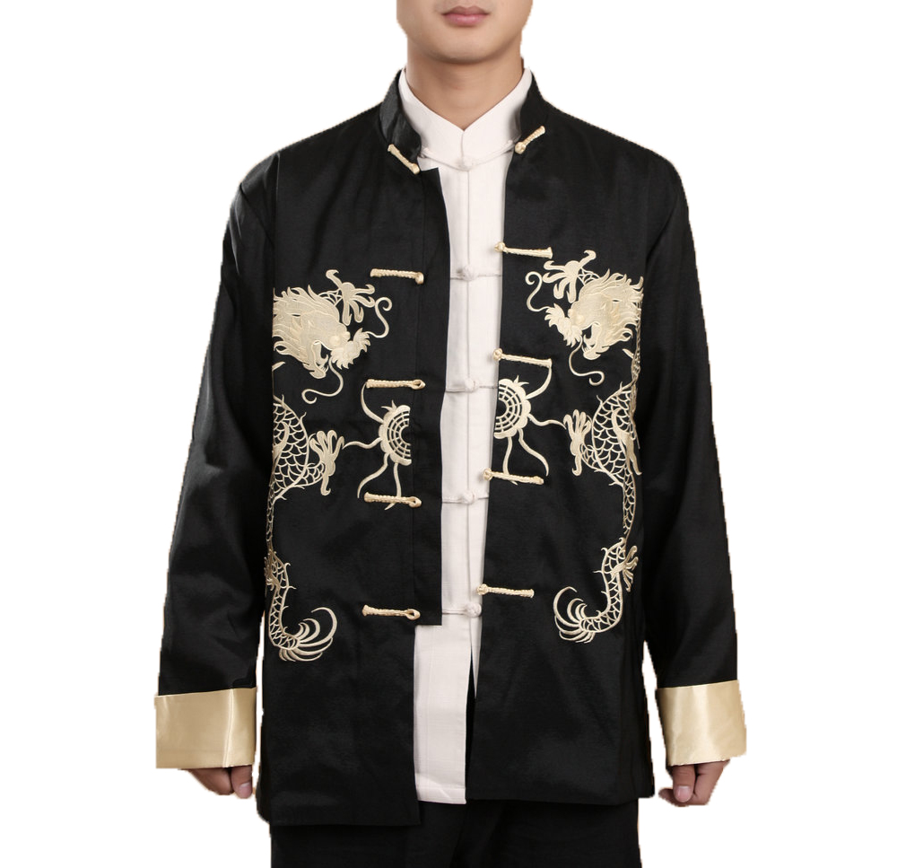 2018 New Mens Turn-up Cuff Long Sleeve Chinese Shirt Tang Suit Coat Embroidered Dragon Kungfu Martial Art Coat