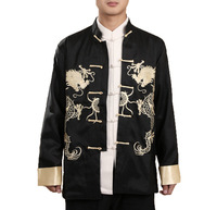2018 New Mens Turn up Cuff Long Sleeve Chinese Shirt Tang Suit Coat Embroidered Dragon Kungfu Martial Art Coat