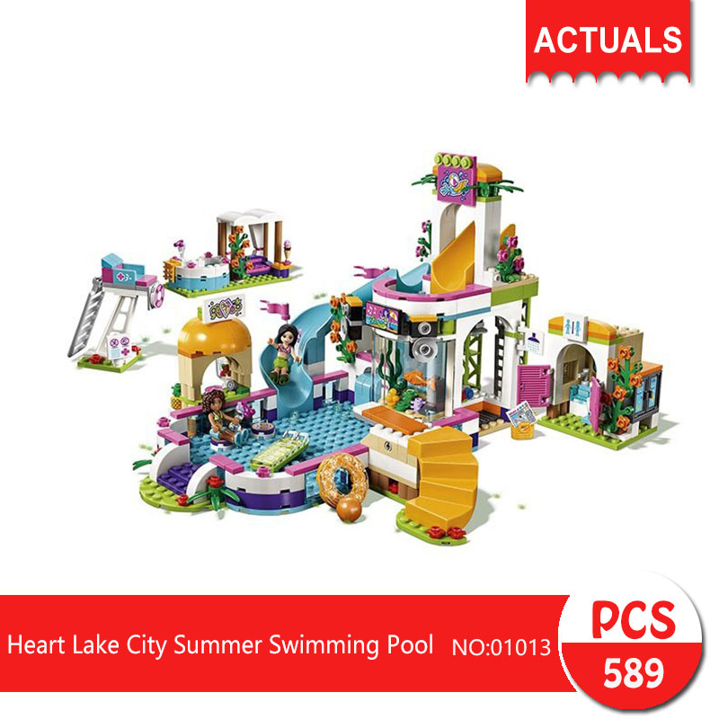 Lepin 01013 589Pcs Friends series Heart Lake City Summer Swimming Pool  Building Blocks   Bricks Toys For Children Gift lepin 02012 city deepwater exploration vessel 60095 building blocks policeman toys children compatible with lego gift kid sets