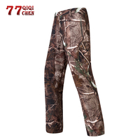 QIQICHEN Tactical Soft Shell Waterproof Camo Pants Men Winter Thermal Shark skin outdoor Pants Casual Fleece assault Trousers
