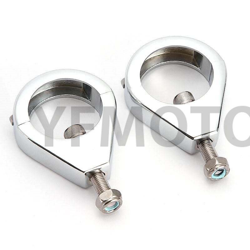 41mm Chrome Turn Signal Indicator Light Relocation Fork Clamps Kit For Harley Dyna Fat Bob FXDF 2008-2014 Street Bob FXDB 06-14