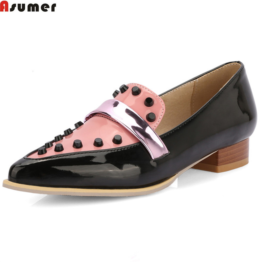 ASUMER beige black spring autumn ladies flat shoes pointed toe casual mixed colors rivet women flats plus size 32-46 meotina women flat shoes ankle strap flats pointed toe ballet shoes two piece ladies flats beading causal shoes beige size 34 43
