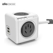 Allocacoc original casa inteligente plugue eletrônico powercube power strip tomada de carregamento usb 4 soquetes interface extensão austrália