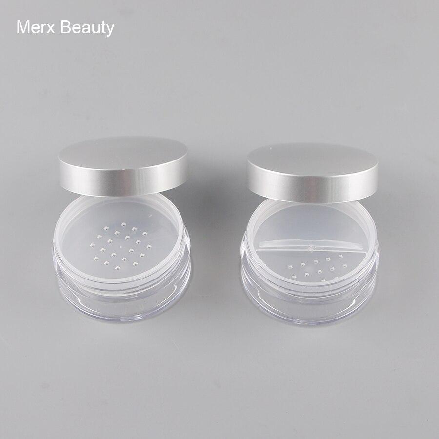 50 sztuk 50 ML przezroczystego tworzywa sztucznego pojemnik na puder sypki z 2 kształt przesiewacz, przenośny słoik kosmetyczny ze srebrną osłoną, wysokiej jakości makijaż w Butelki wielokrotnego użytku od Uroda i zdrowie na  Grupa 1