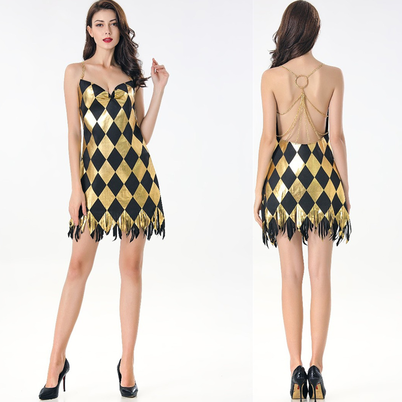 Halloween Costume Stage Singer Jazz Dance Dress Gold Plaid Backless Tassel Bodycon Dress Vestidos Sexy Party Night Club Dress